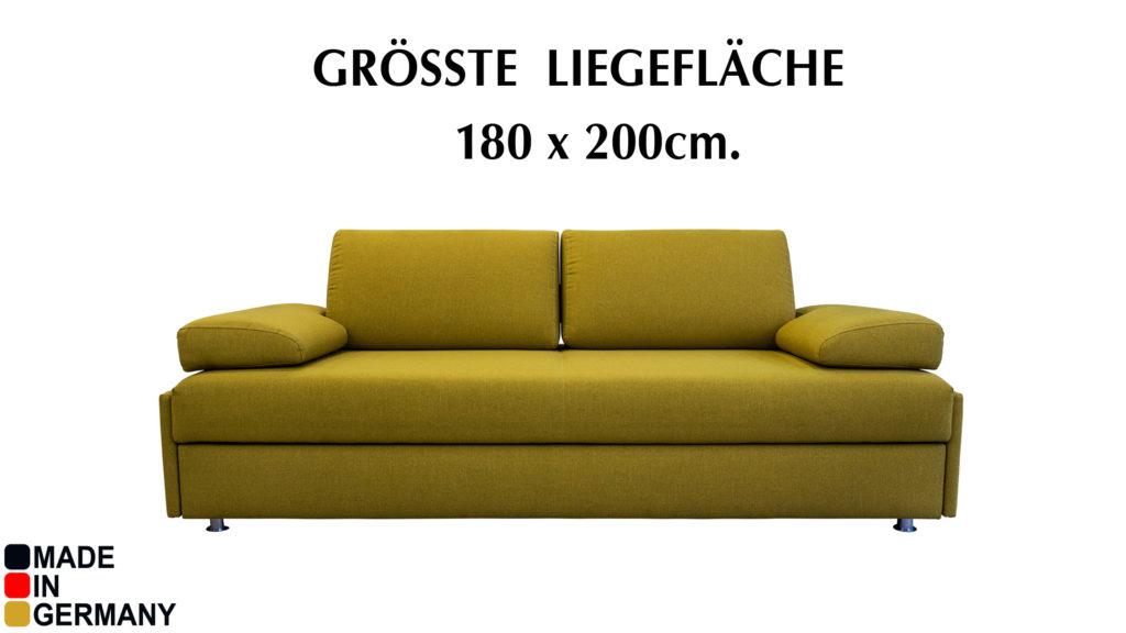 Bettsofa Liegeflaeche 180x200cm.