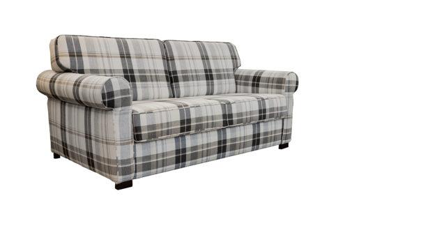 Kariertes Sofa.