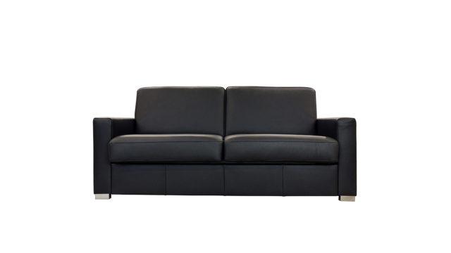 Sofabett in Leder.