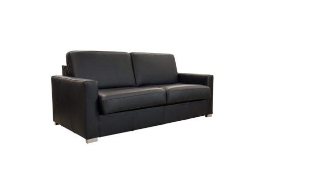 Sofabett mit schwarzem Leder.